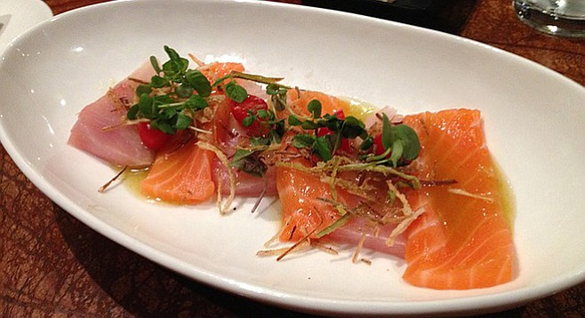 Sashimi of the day: yellowtail and salmon with fried leeks, tomatos and citrus chile sauce. Kappa Sushi.