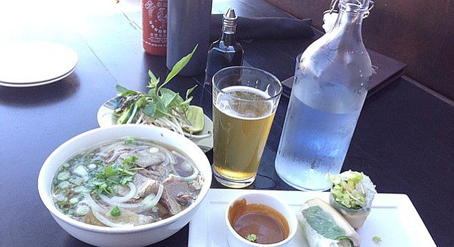 Not a bad spread: pho with brisket and spring rolls. Bar 1502.