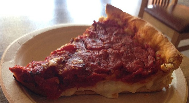This little slice of pepperoni hits the spot. Berkeley Pizza.