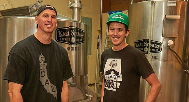 Karl Strauss Brewing Co. brewmaster Paul Segura (left) and Lee Chase of Automatic Brewing Co. on brew day for Centennial IPA, a double India pale ale brewed to celebrate Balboa Park's 100th birthday (photo by Tim Stahl)