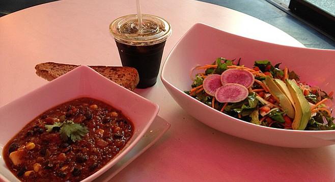 Pinkish hue courtesy of decor. Skinny Salad and Quinoa Chili. Sol Cal.