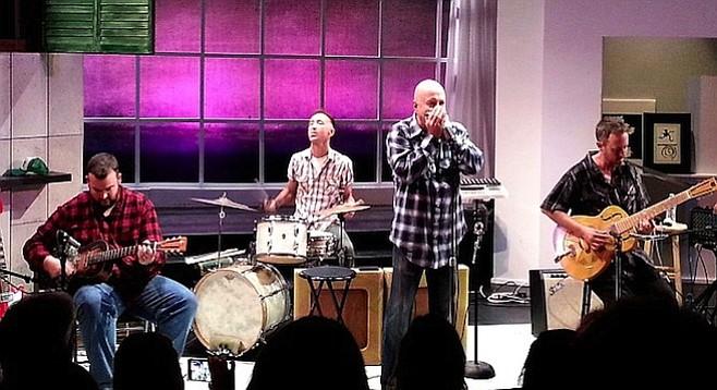 Big Jon Atkinson, Marty Dodson, Kim Wilson, and Nathan James throwing down the blues.