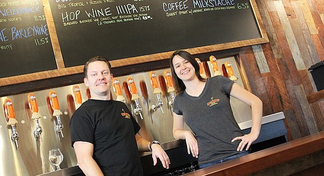 Rip Current Brewing's North Park servers all smiles right before opening for business