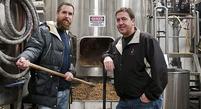 Mikkeller's Mikkel Borg Bjergsø (left) and AleSmith owner/brewmaster Peter Zien during brew day for they're collaboration beer, Beer Geek Speedway (photo courtesy AleSmith Brewing Company)