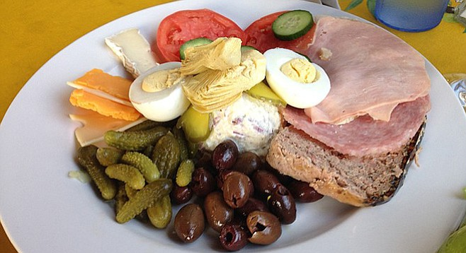 I don't know why they don't call it charcuterie. Not as pretentious as me I guess. French Deli Plate. A Delight of France.