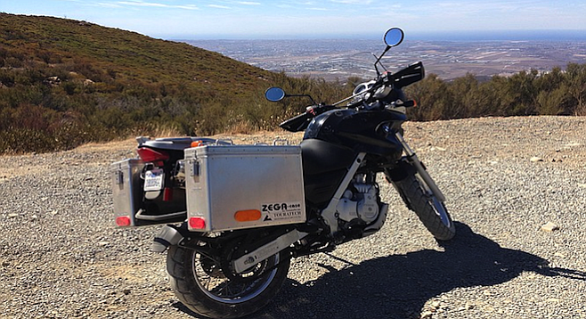 Our bike on the Otay Mountain truck trail.