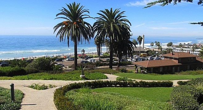 Path from Del Mar's L'Auberge hotel down to the Powerhouse Park and beach.