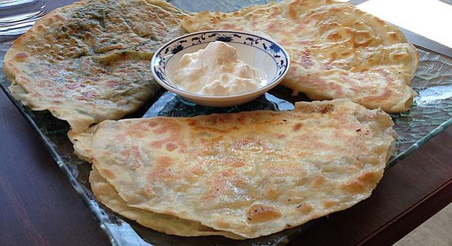 Some call it a pancake, some a quesadilla. In Turkey it's called gozelme. Lezzet Café.