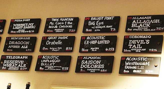 A mere third of the beer board at Regents Pizzeria in University City