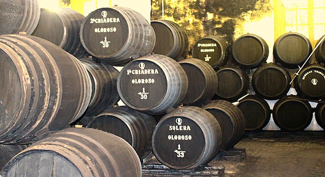 A sherry bodega in the heart of Jerez, Spain.
