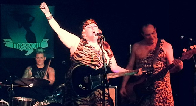 "Bedrock-and-roll birthday girl Laura Jane Willcock and her new group ThunderLux — like ""the Flintstones on  a bender."""