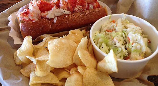 Maine lobster roll with cole slaw and potato chips. Lobtser West.