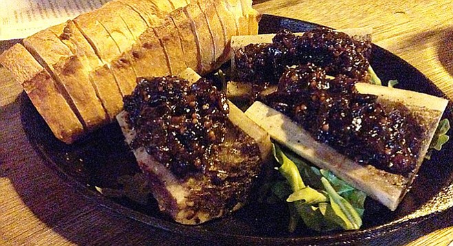Generously topped by bacon onion stout jam – bone marrow. Counterpoint.