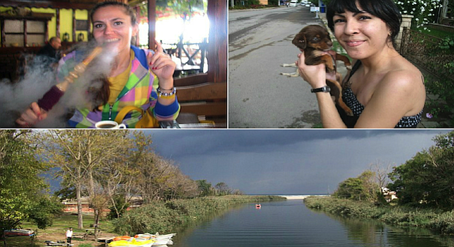 "Clockwise from top-left: Saba smokes a hookah with her Turkish coffee; puppies abound on the streets of Ağva; the ""Yeşilçay,"" or Green Tea River."