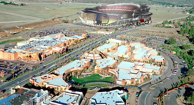 Artist's rendering of the Viejas casino/outlet mall/stadium.