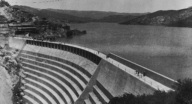 Barrett Dam, as pictured on July 25, 1922, the same year it was completed by the City of San Diego. Barrett Dam created Barrett Reservoir.