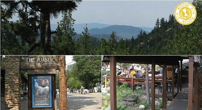 Clockwise from top: view on the hike near Idyllwild; the town's historic Rustic Theatre; Restaurant Gastrognome patio.