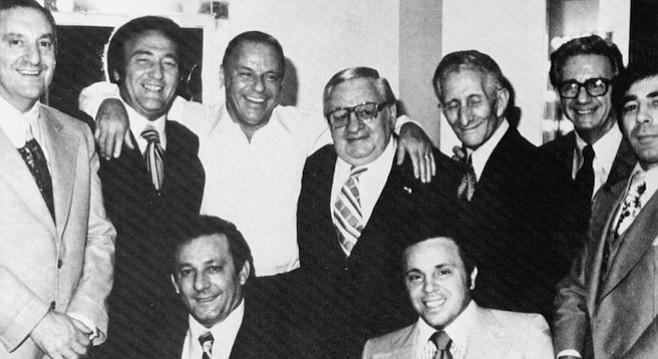 Sinatra and the mob. Top row: Paul Castellano, Gregory De Palma, Frank Sinatra, Thomas Marson, Carlo Gambino, Jimmy Fratianno, Salvatore Spatola; bottom row: Joe Gambino, Richard Fusco