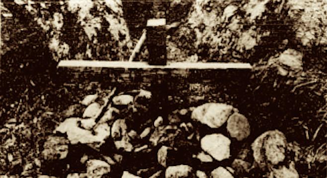Monument at Chariot Canyon. Deputies driving Banner Grade have seen Gustav Hudson at the property and  Benjamin Haimes' Lincoln Continental.