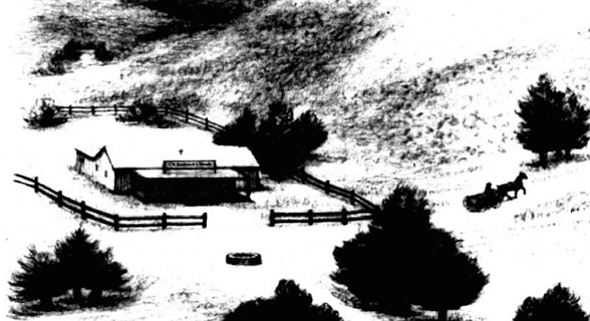 Sandrock's tienda at Mission Grade. The slope up which Highway 163 runs today was called Poor Farm Grade; Texas Street was called Mission Grade.