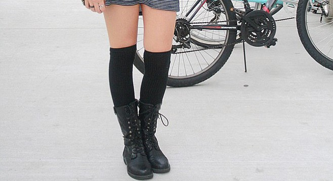 Laura Vaugeois paired combat boots with knee-high socks