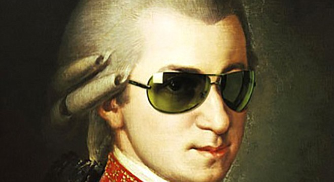 Mozart in his bread-slicing safety glasses.