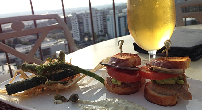 The rare ahi sliders and frito mixto paired well with this St. Archer blonde.