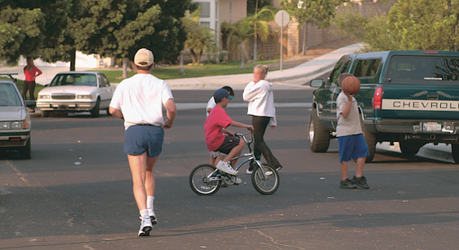 Kids at play in Sabre Springs, a block away from the van Dam home