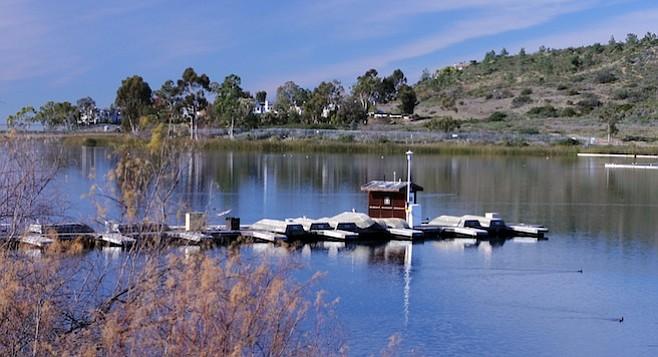Boat dock at Lake Miramar in 2012