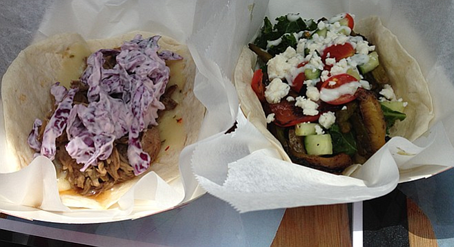 The Sinner (pulled pork and horseradish cabbage) and the Saint (tons of veggies, tzatziki, feta)