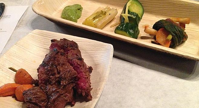Hanger steak, doing its best to impress