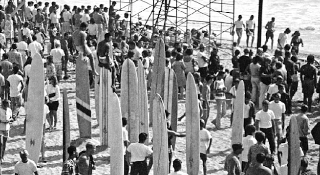 """Kahanamoku surfed the OB Pier, and when he did, he asked a teenaged lifeguard named Charlie Wright if he could store his board in Wright's beach shack. Wright asked if he might try the board. """"So Charlie surfed the board and also got the dimensions and later copied it."""""""