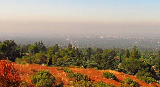 L.A. smog over Altadena, 15 miles northeast in the San Gabriel foothills.