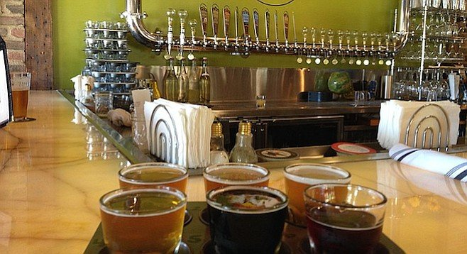 A six-taster flight at Alpine's new pub