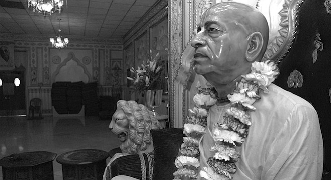 "Statue Swami Prabhupada, Pacific Beach Temple. ""Before I go to bed, I listen to Prabhupada's prayers and chanting."""