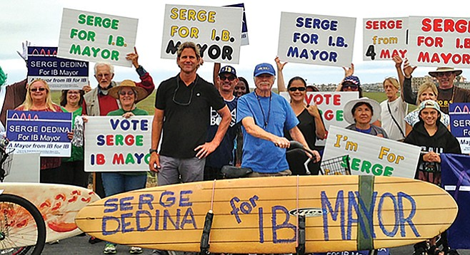 Serge Dedina with his campaign supporters