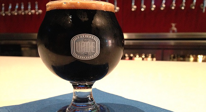 A five-ounce taster of Velvet Speedway Stout offered for the Urge Gastropub fifth-anniversary celebration