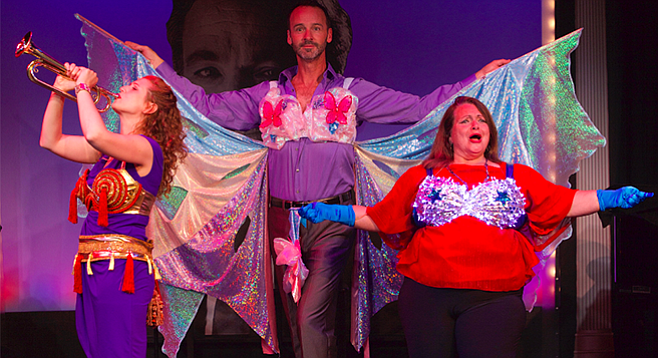 Rena Strober, Randall Dodge, and Angelina Réaux in Side by Side by Sondheim at North Coast Rep