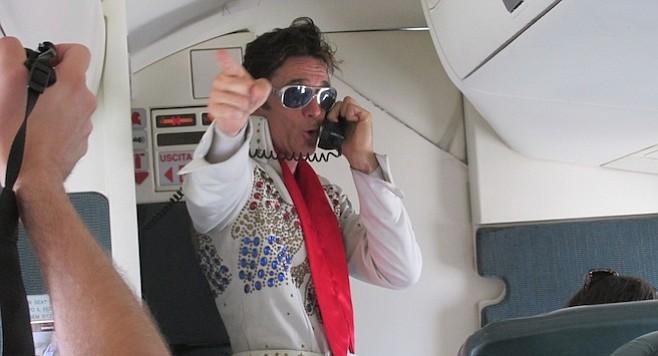 Elvis sings on board Biz Air Shuttle