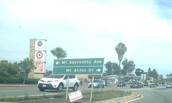 The eyesore median on Balboa and Mt. Abernathy.