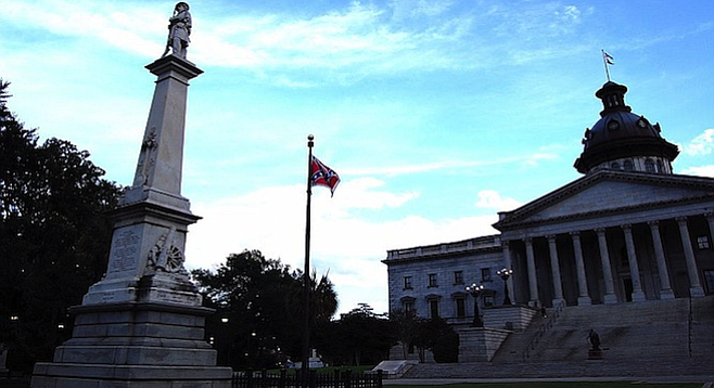 The contentious Confederate flag still flew at Columbia's State House grounds in June 2015.