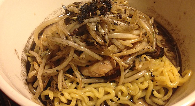 The black ramen from Izakaya Ouan doesn't disappoint — it's both black and ramen