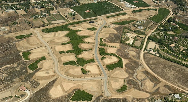 Bird's-eye view of the Groves development