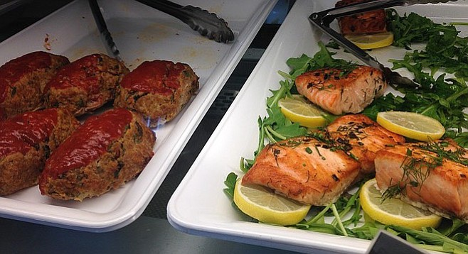 Turkey meatloaf and pan-seared Scottish salmon