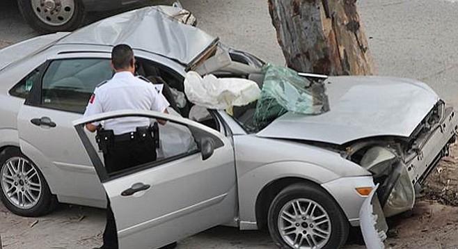 Tijuana accident scene at which pedestrian was struck