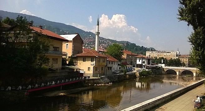 On the banks of Sarajevo's Miljacka River.