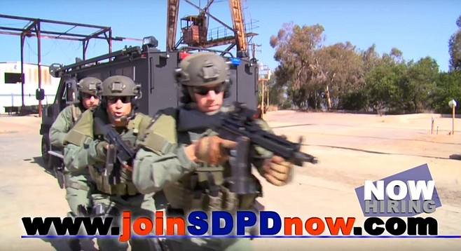 Screencap from actual San Diego Police recruitment video on YouTube.