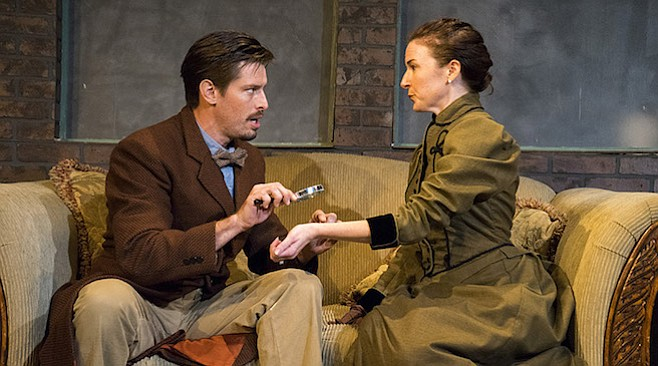Justin Lang and Jo Anne Glover in Watson Intelligence at Moxie Theatre