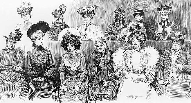 The fundraiser was closed to reporters, but SD on the QT was able to obtain this sketch of the audience as it took in Mr. Carson's remarks. Ms. Guzzlethwaite appears in the front row, second from the left.