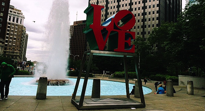 Robert Indiana's Love in JFK Plaza, abright spot on a dreary day in Philly.